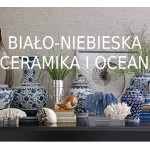 Biało-niebieska ceramika i ocean