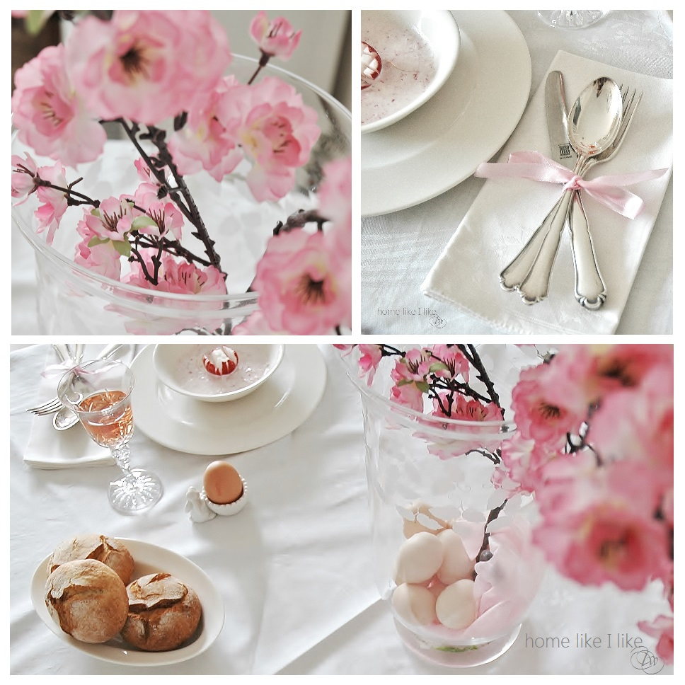easter table with Rose quartz - homelikeilike.com