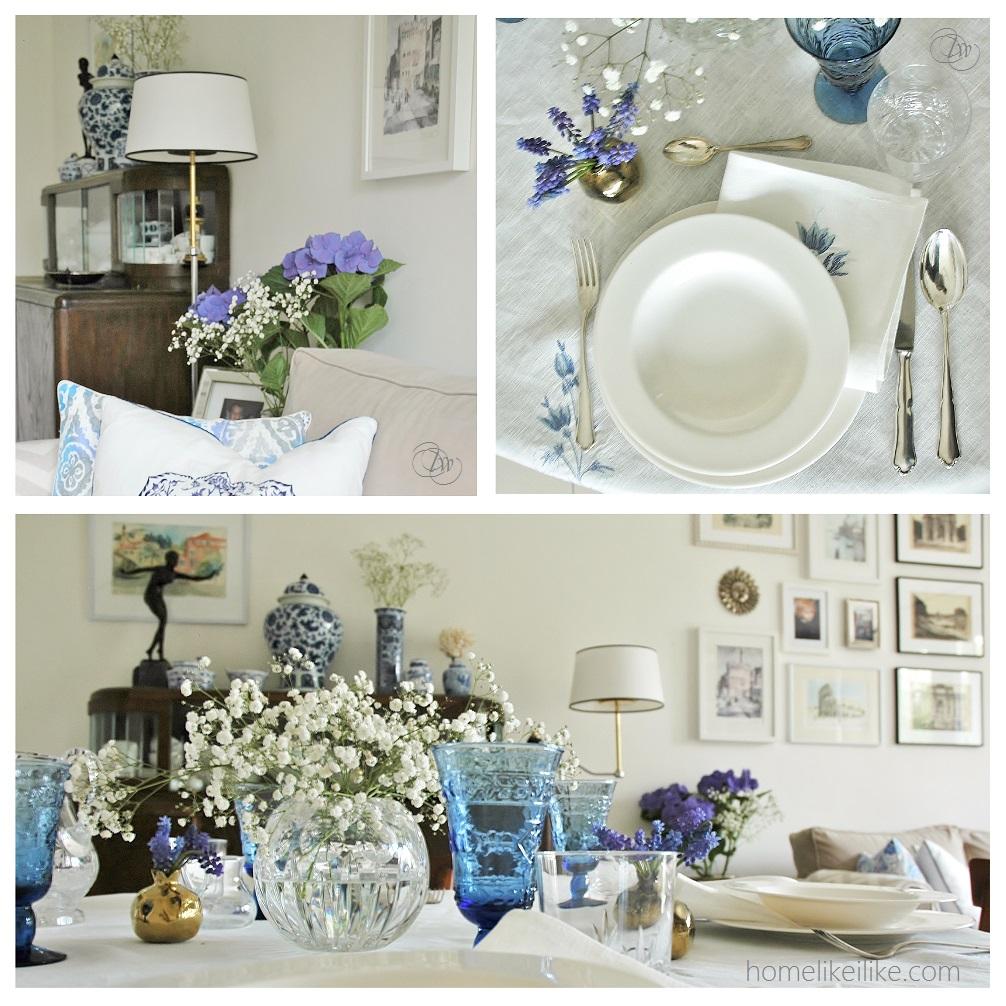 blue and white dinner - homelikeilike.com