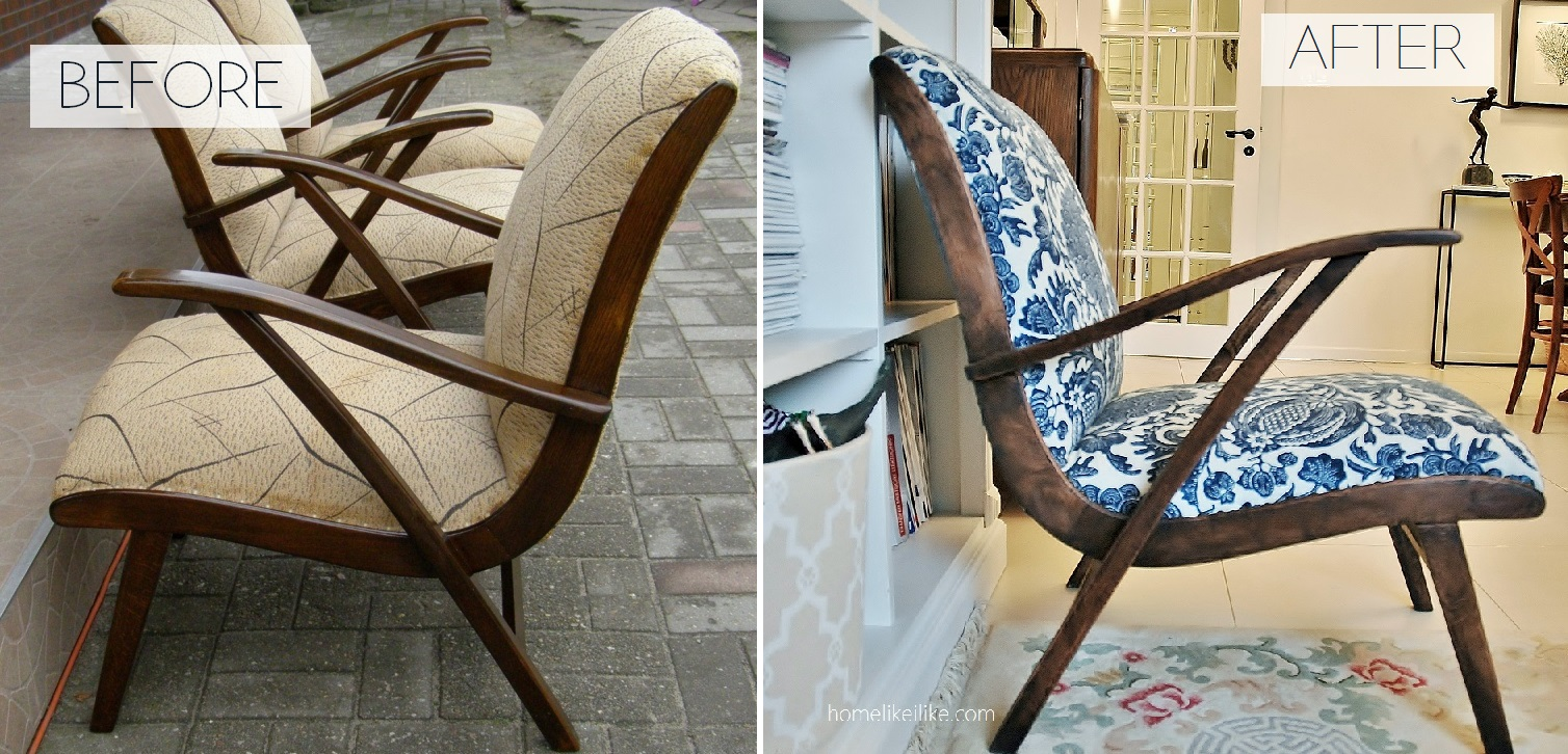 midcentury armchair makeover - metamorfoza homelikeilike.com
