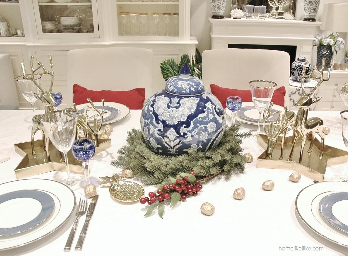 świąteczne inspiracje - błękit i kropla czerwieni - homelikeilike.com